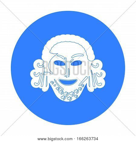 Greek antique mask icon in blue style isolated on white background. Greece symbol vector illustration.