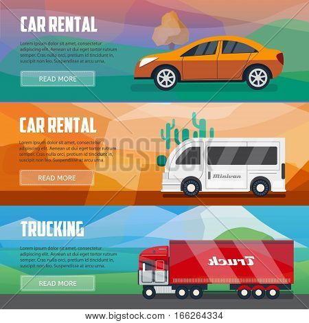 Trucking and car rental banners. Horizontal banners set. Advertising posters for car rental agency. Cars bussiness template.