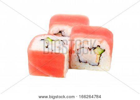 Three Sushi Food Japan Photo On A White Bg