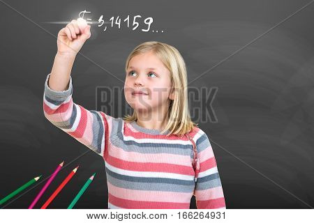 Young Girl pretending to draw with chalk.