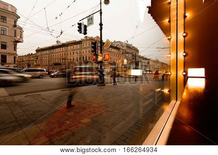 St. Petersburg, Nevsky Prospect view from the cafe window. Long exposure