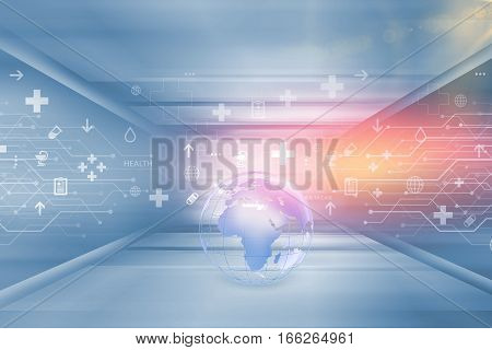 Medical Abstract Background Medical Symbols with Earth Globe in Floor Center Suitable for Healthcare and Medical News Topic