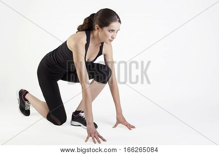 Woman Stand In Start Position Isolated On White Bg