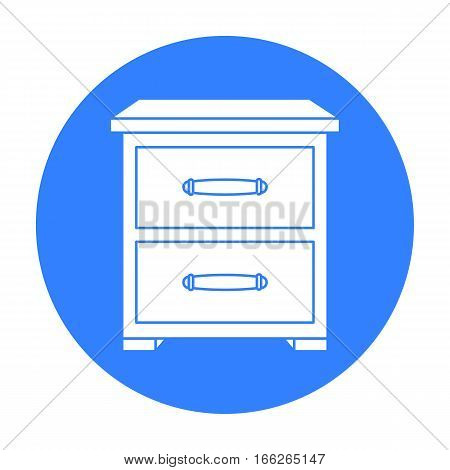 Bedside table icon in blue style isolated on white background. Furniture and home interior symbol vector illustration.