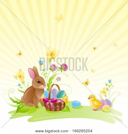 Happy Easter square banner border. Spring landscape bunny rabbit, chicken, egg, crocus flower, clover, grass, sun, basket, butterfly. Springtime nature. Vector illustration background. Greeting card