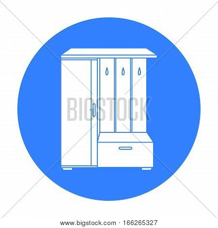 Vestibule wardrobe icon in blue style isolated on white background. Furniture and home interior symbol vector illustration.
