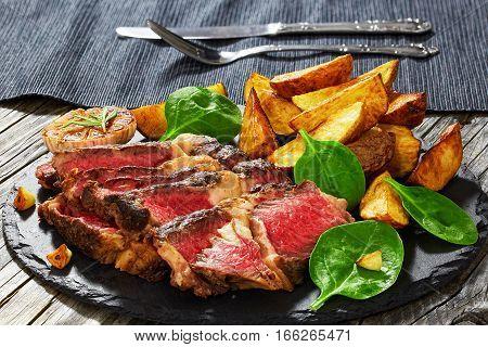 Juicy Rib Eye Beef Steak With Fried Potato Wedges