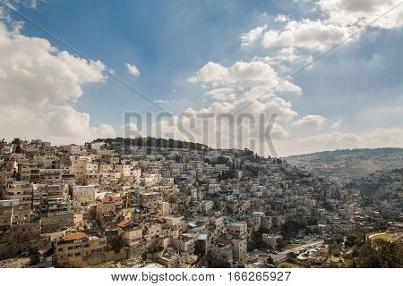 District of East Jerusalem with a predominantly Palestinian population. Adjacent to the Old City from the south from the Kidron Valley.
