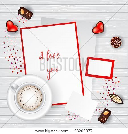 Valentine Day Scene Creator Mock up Coffee Cup, confetti heart, chocolate candy, post cards
