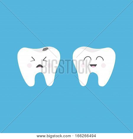 Healthy smiling tooth icon. Crying bad ill teeth with caries. Cute character set. Oral dental hygiene. Baby blue background. Flat design. Vector illustration