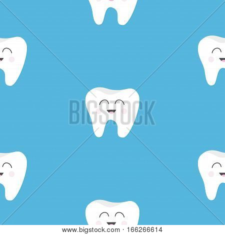 Pattern Seamless Tooth health. Cute funny cartoon smiling character. Oral dental hygiene. Children teeth care. Baby texture. Flat design. Blue background. Vector illustration.