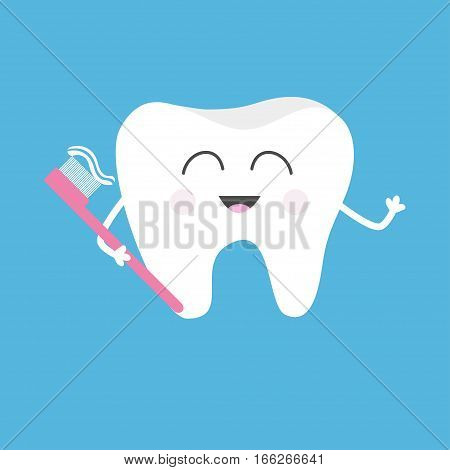 Healthy tooth holding toothbrush with toothpaste. Cute funny cartoon smiling character. Children teeth care icon. Oral dental hygiene. Baby background. Flat design. Vector illustration