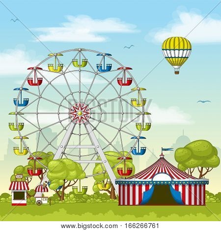 Illustration of an amusement park in summer