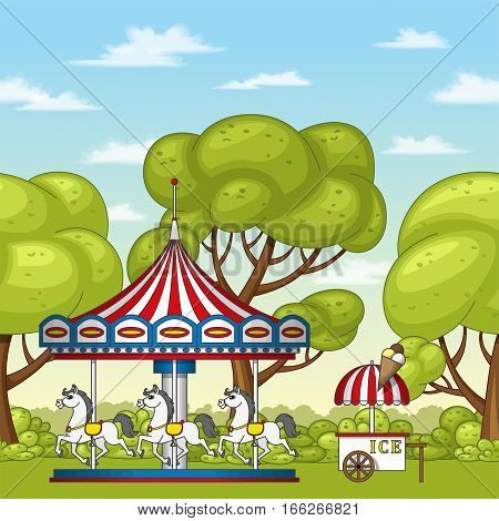 Illustration of an carousel with horses, vector