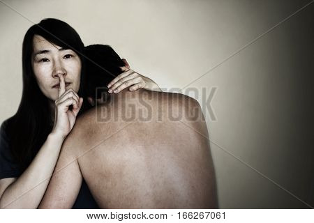 Woman Arm Around Man With Insidious Face