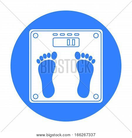 Weighing scale icon in blue style isolated on white background. Sport and fitness symbol vector illustration.