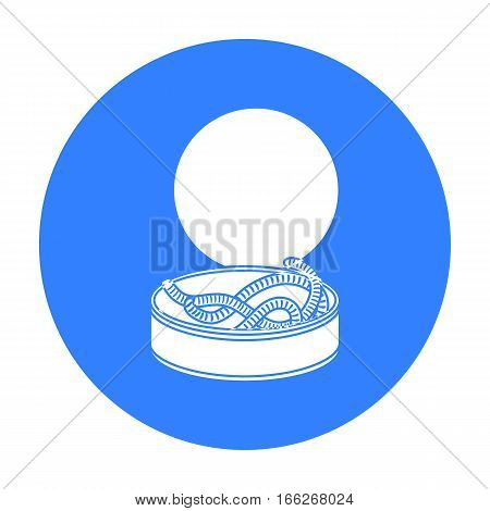 Tin can full of worms icon in blue design isolated on white background. Fishing symbol stock vector illustration.