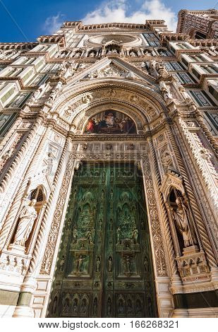 View Of The Entrance Doors To The Duomo Santa Maria Del Fiore And Bargello. Florence, Tuscany, Italy
