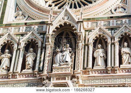 Closeup Of The Architectural Details Of The Duomo Santa Maria Del Fiore And Bargello. Florence, Tusc