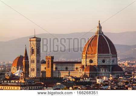 Duomo Santa Maria Del Fiore And Bargello In The Evening From Piazzale Michelangelo In Florence, Tusc