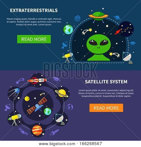 Satellite system horizontal banners set with extraterrestrial symbols flat isolated vector illustration
