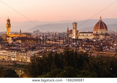 Panoramic View To The River Arno, With Ponte Vecchio, Palazzo Vecchio And Cathedral Of Santa Maria D