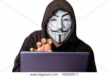 Portrait Of Man With Laptop And Vendetta Mask Isolated On White