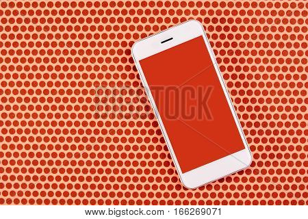 Smartphone with blank screen as mock up copy space top view of mobile phone over dotted background