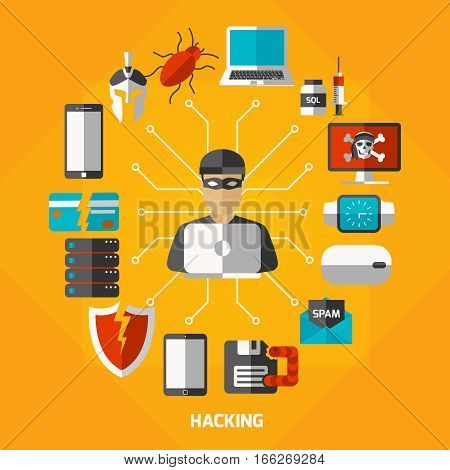 Colorful hackers background with decorative icons of spy bat electronic gadgets and anti-virus protection pictogram vector illustration
