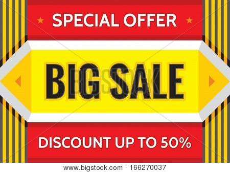 Big sale special offer - concept business banner  vector illustration in A4 horizontal format. Discount up to 50% promotion layout. Geometric advertising flyer. Design element.