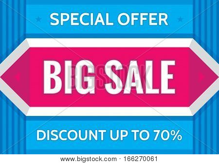 Big sale special offer - concept business banner  vector illustration in A4 horizontal format. Discount up to 70% promotion layout. Geometric advertising flyer. Design element.