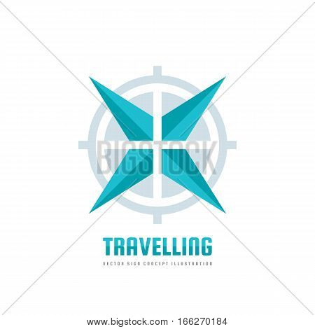 Travelling - vector business logo template concept illustration. Abstract rose of wind and target symbol. Travel agency adventure creative sign. Star and cross design elements.