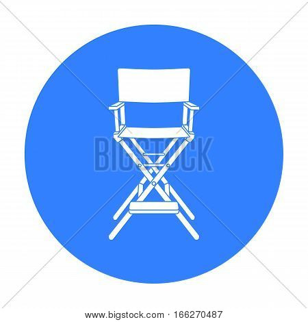 Director's chair icon in blue style isolated on white background. Films and cinema symbol vector illustration.