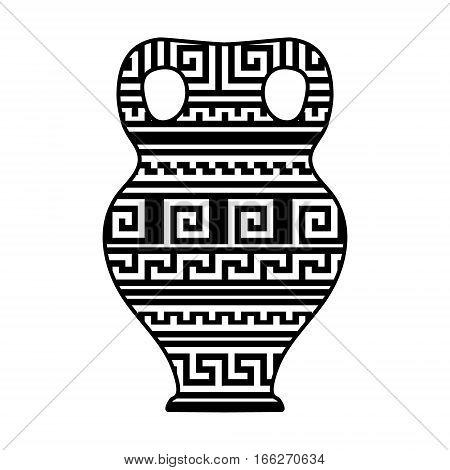 Black and white geometric greek meander traditional vase, vector illustration