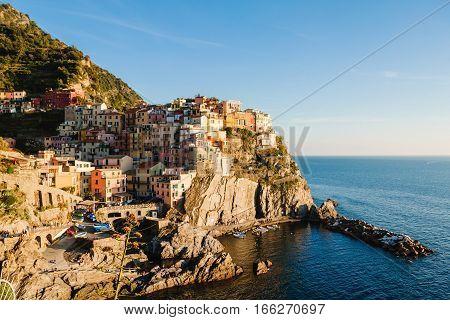 Panoramic View Of Manarola, Cinque Terre, Liguria, Italy.