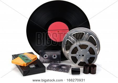 black and white cinefilm photo film audio recording isolated on a white background.