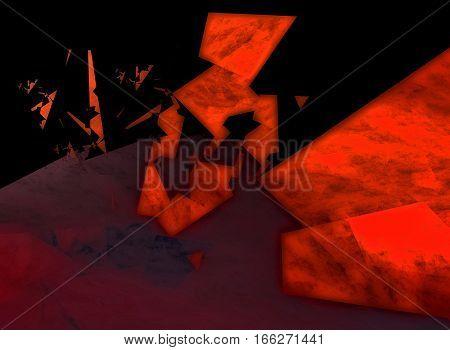 A fractal polygonal design gradually disintegrating into smaller pieces.