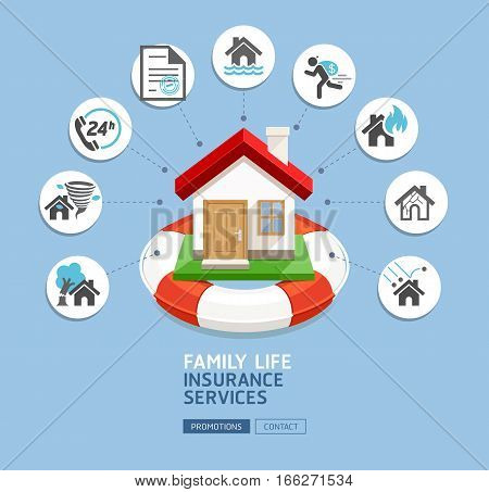 House insurance services. House with lifebuoy on blue background. Vector Illustrations.