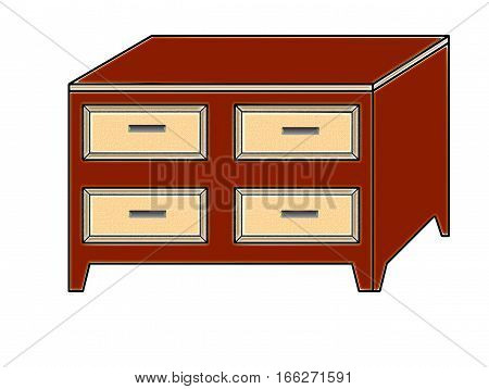 graphic representing a chest of drawers isolated on a white background