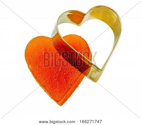 Candied fruit jelly apricot form with iron. Isolated background