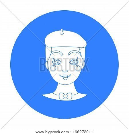 Mime artist icon in blue style isolated on white background. Event service symbol vector illustration.