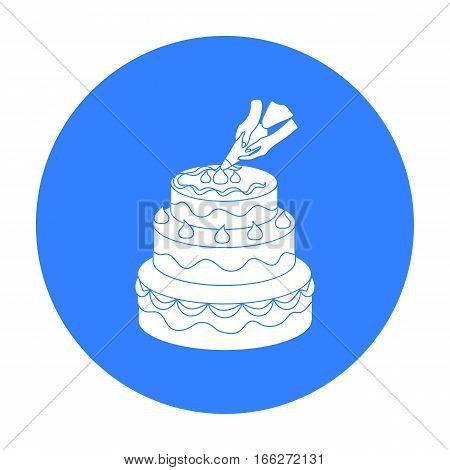 Decorating of birthday cake icon in blue style isolated on white background. Event service symbol vector illustration.