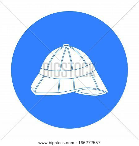 Pith helmet icon in blue style isolated on white background. England country symbol vector illustration.