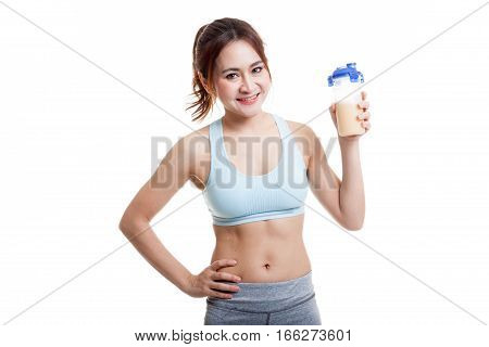 Beautiful Asian Healthy Girl With Whey Protein.