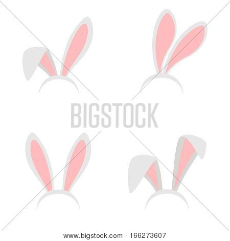 Easter bunny ears mask vector illustration. Ostern rabbit ear spring hat set isolated on white background