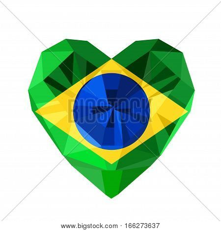 Vector crystal gem jewelry Brazilian heart with the flag of the Federative Republic of Brazil. Flat style logo symbol of love Brazil. Rio de Janeiro. Independence of Brazil 7 September