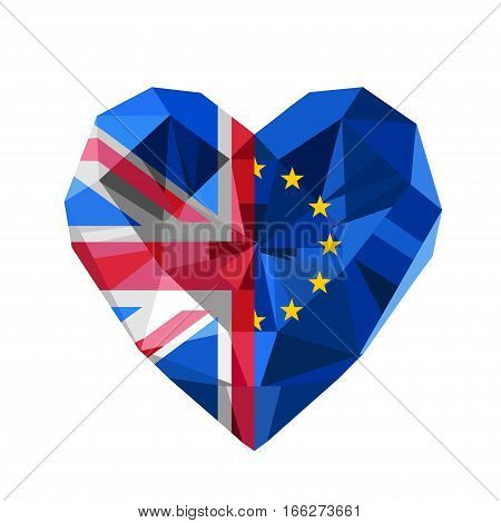 Vector Brexit illustration. Crystal jewelry European and British heart with the flag of  the European Union and United Kingdom. Flat style logo symbol of love European Union and the Great Britain. EU. GB.
