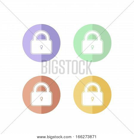 Colorful Set of Pad Lock or Security Icon. Isolated.