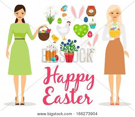 Easter flat vector illustration. Spring elements with sunday cake and butterfly, eggs and woman moms