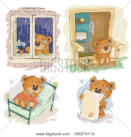 Set of vector clip art illustrations of bored teddy bears. I miss you